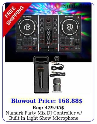 numark party mix dj controller w built in light show microphone cables cas