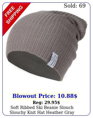 soft ribbed ski beanie slouch slouchy knit hat heather gra