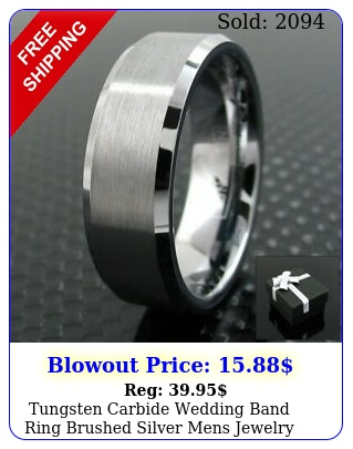 tungsten carbide wedding band ring brushed silver mens jewelry size  hal