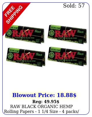 raw black organic hemp rolling papers  size  packs leaves ea pac