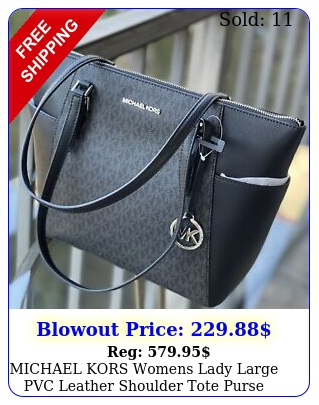michael kors womens lady large pvc leather shoulder tote purse bag handbag blac