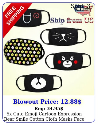 x cute emoji cartoon expression bear smile cotton cloth masks face mouth cove
