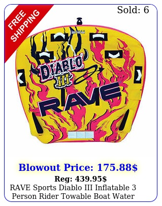 rave sports diablo iii inflatable person rider towable boat water tube raf