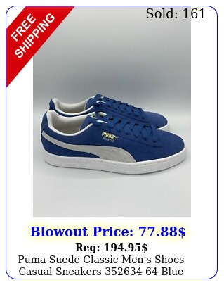 puma suede classic men's shoes casual sneakers  blue whit