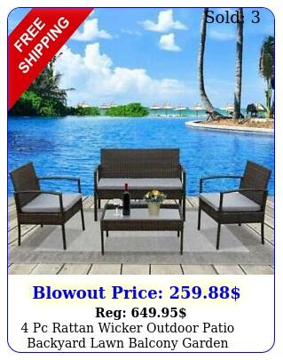 pc rattan wicker outdoor patio backyard lawn balcony garden furniture se