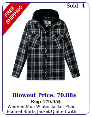 wenven men winter jacket plaid flannel shirts jacket quilted with removable hoo