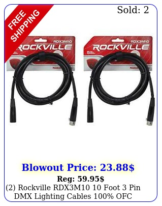 rockville rdxm foot pin dmx lighting cables ofc female mal