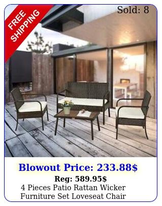pieces patio rattan wicker furniture set loveseat chair cushioned garden yar