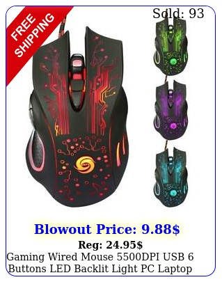 gaming wired mouse dpi usb buttons led backlit light pc laptop computer u
