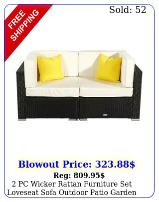 pc wicker rattan furniture set loveseat sofa outdoor patio garden chai