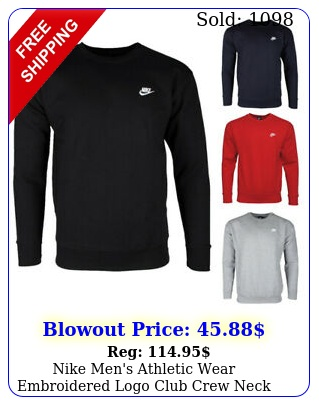 nike men's athletic wear embroidered logo club crew neck gym active sweatshir