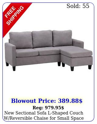 sectional sofa lshaped couch wreversible chaise small space light gra