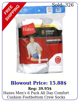 hanes men's pack all day comfort cushion footbottom crew socks whit