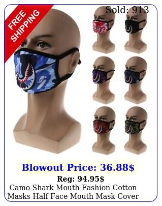camo shark mouth fashion cotton masks half face mouth mask cove