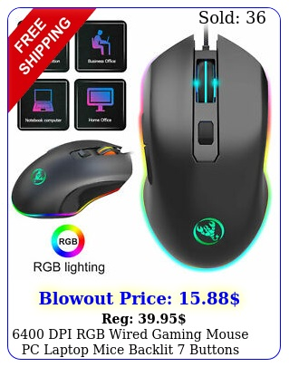 dpi rgb wired gaming mouse pc laptop mice backlit buttons rechargeabl
