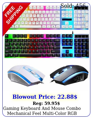 gaming keyboard mouse combo mechanical feel multicolor rgb wired us
