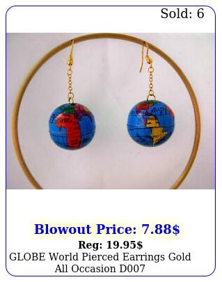 globe world pierced earrings gold  all occasion