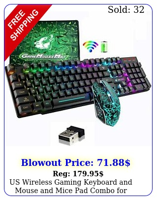 us wireless gaming keyboard mouse mice pad combo computer mac game