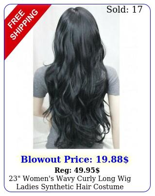 women's wavy curly long wig ladies synthetic hair costume cosplay black dar
