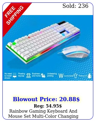 rainbow gaming keyboard mouse set multicolor changing backlight whit