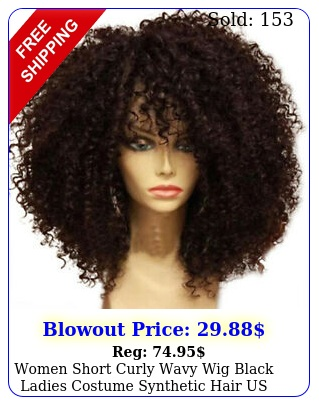 women short curly wavy wig black ladies costume synthetic hair us shi