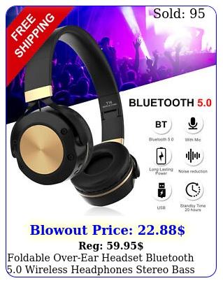foldable overear headset bluetooth wireless headphones stereo bass earphon