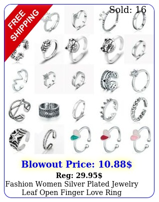 fashion women silver plated jewelry leaf open finger love ring adjustable siz