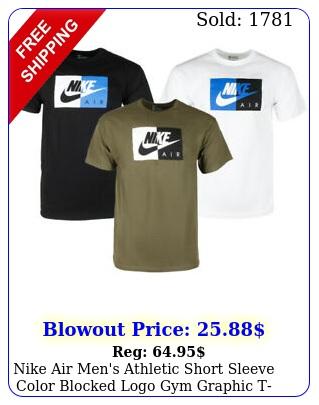 nike air men's athletic short sleeve color blocked logo gym graphic tshir