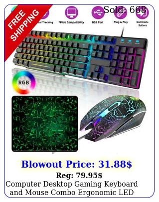 computer desktop gaming keyboard mouse combo ergonomic led light backlit rg
