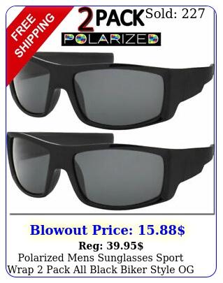 polarized mens sunglasses sport wrap pack all black biker style og polar loo