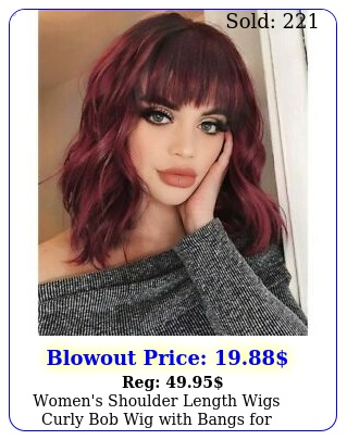 women's shoulder length wigs curly bob wig with bangs cosplay party dail