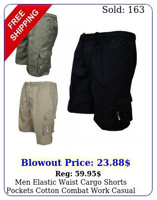 men elastic waist cargo shorts pockets cotton combat work casual shorts pant
