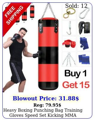 heavy boxing punching bag training gloves speed set kicking mma workout empty u