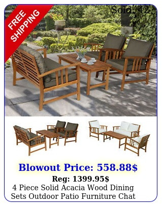 piece solid acacia wood dining sets outdoor patio furniture chat se