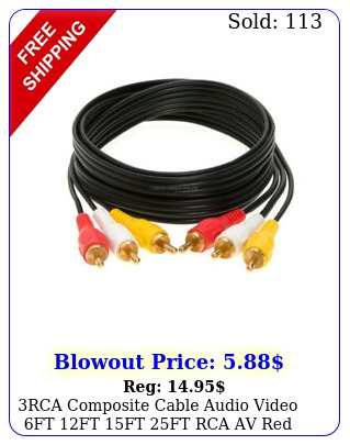 rca composite cable audio video ft ft ft ft rca av red white yellow cor