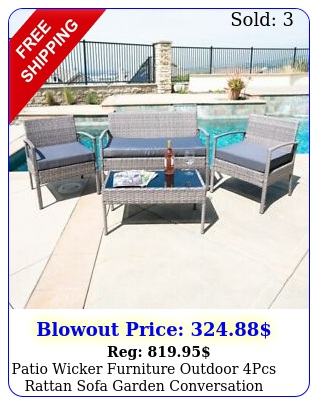 patio wicker furniture outdoor pcs rattan sofa garden conversation set gra