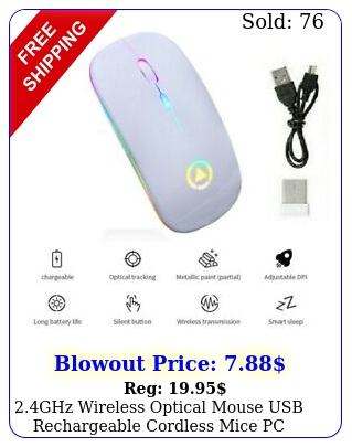 ghz wireless optical mouse usb rechargeable cordless mice pc laptop white u