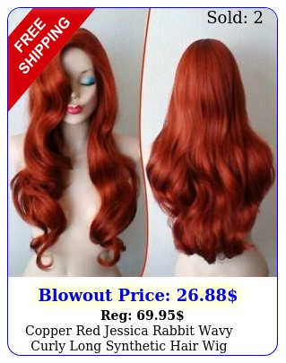 copper red jessica rabbit wavy curly long synthetic hair wig cosplay party l