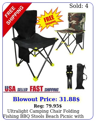 ultralight camping chair folding fishing bbq stools beach picnic with carry ba