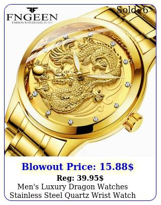 men's luxury dragon watches stainless steel quartz wrist watch father's day gif