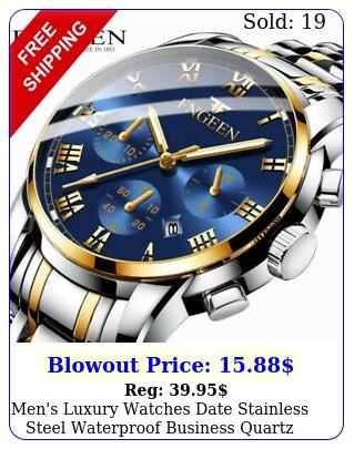 men's luxury watches date stainless steel waterproof business quartz wrist watc