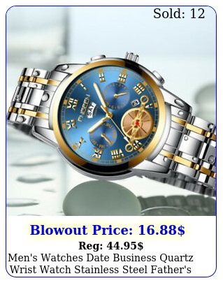men's watches date business quartz wrist watch stainless steel father's day gif