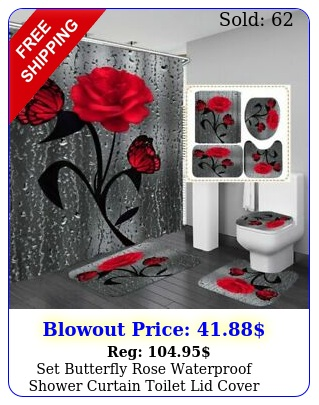 set butterfly rose waterproof shower curtain toilet lid cover bathroom ma