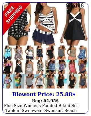 plus size womens padded bikini set tankini swimwear swimsuit beach bathing sui
