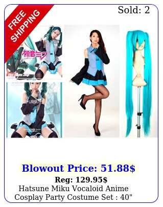 hatsune miku vocaloid anime cosplay party costume set  wigs  dress wti