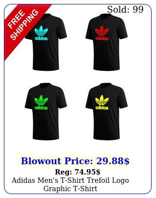 adidas men's tshirt trefoil logo graphic tshirt greenredaquayello