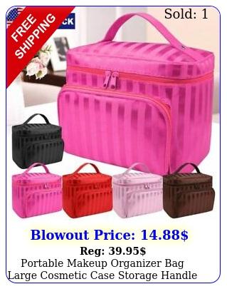 portable makeup organizer bag large cosmetic case storage handle travel kit us