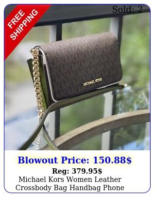 michael kors women leather crossbody bag handbag phone clutch shoulder evergree