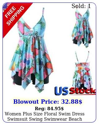 women plus size floral swim dress swimsuit swing swimwear beach boho onepiec