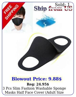 pcs slim fashion washable sponge masks half face cover adult size blac